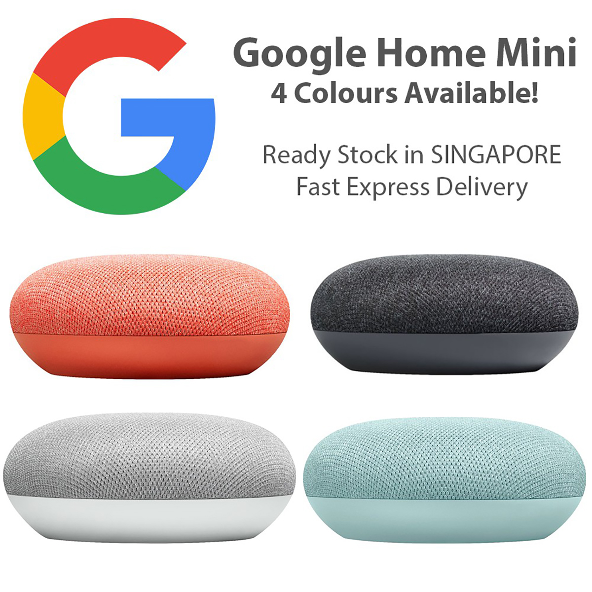Google Home Mini Smart Speaker (Coral) with Google Assistant