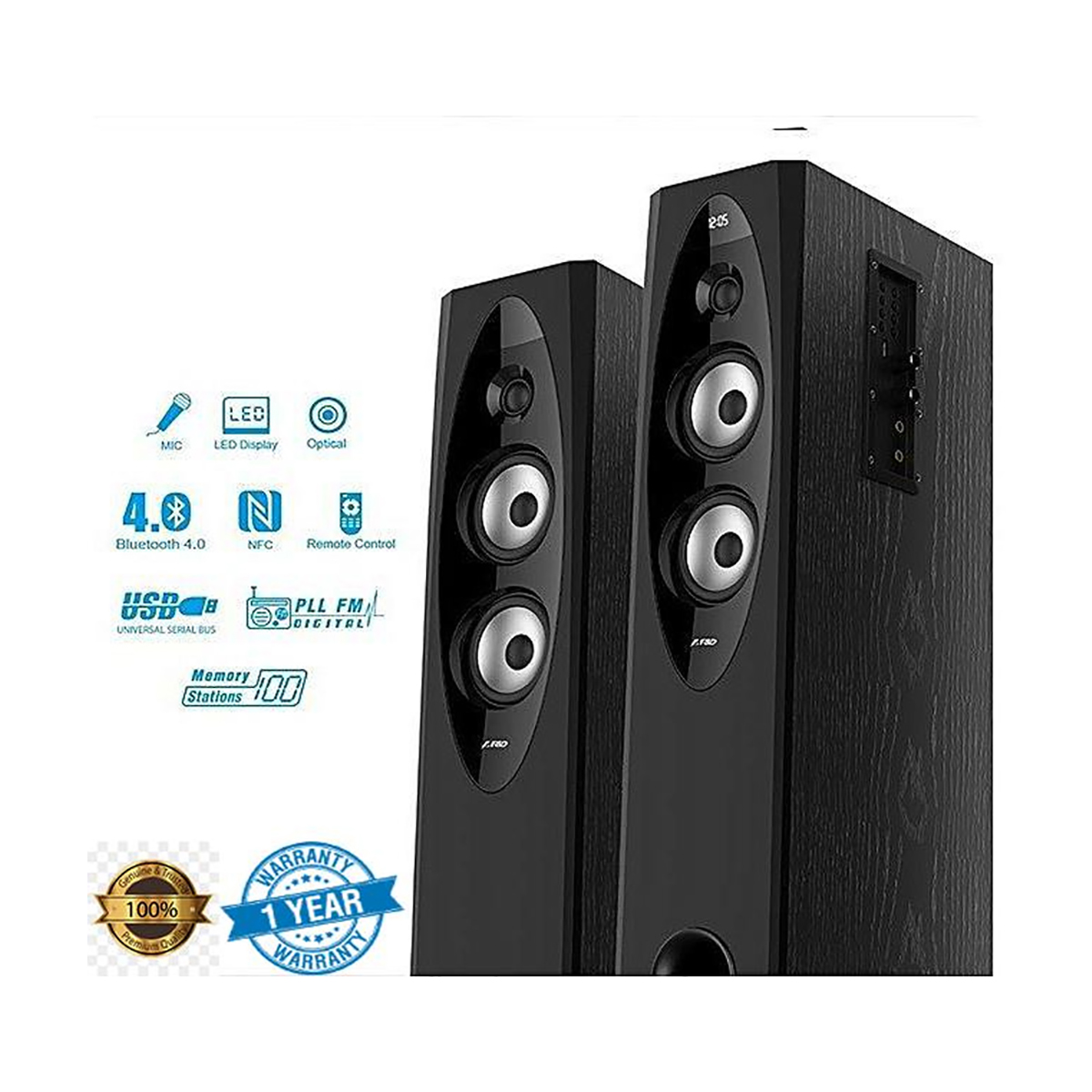 F&D T60X Bluetooth 2:0 Tower Speaker(With Microphone)