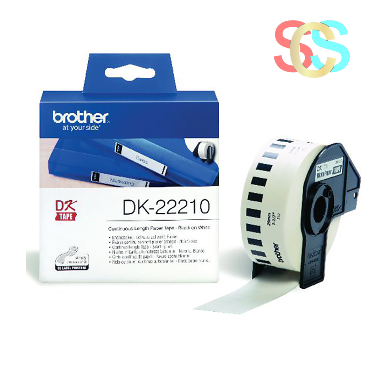 Brother Genuine DK-22210 Continuous Paper Label Roll (Black on White, 29mm wide)