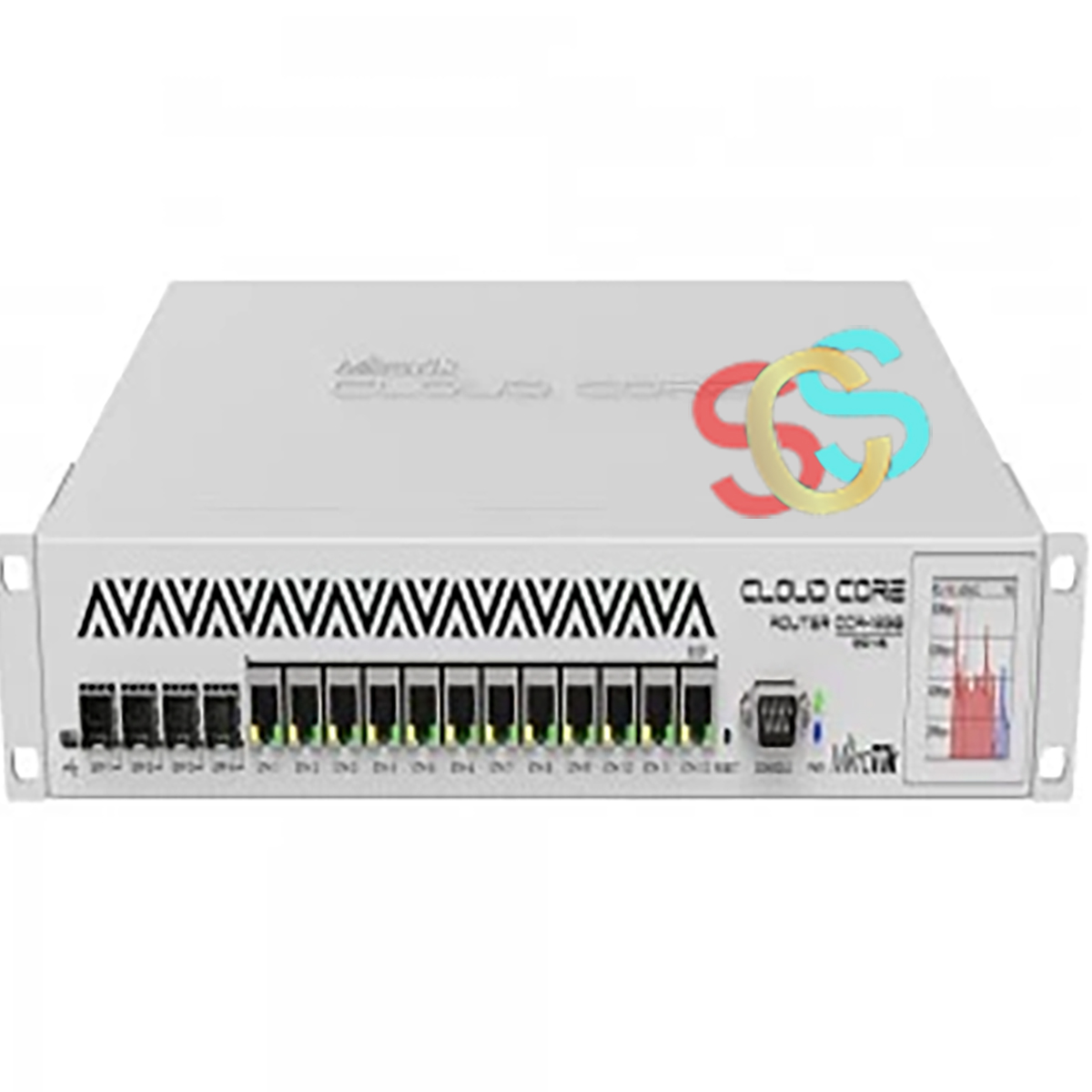 Mikrotik CCR1036-12G-4S Gx36 CPU (36-cores, 1.2GHz per core), Two SODIMM DDR3 slots, 2x2GB DDR3 10600 modules installed, 12 Gigabit, 4 1.25G Ethernet SFP cage (Mini-GBIC; SEP module not included), 1GB Onboard NAND, Mikro Tik RouterOS v6 (64bit) Level 6 license Network Router