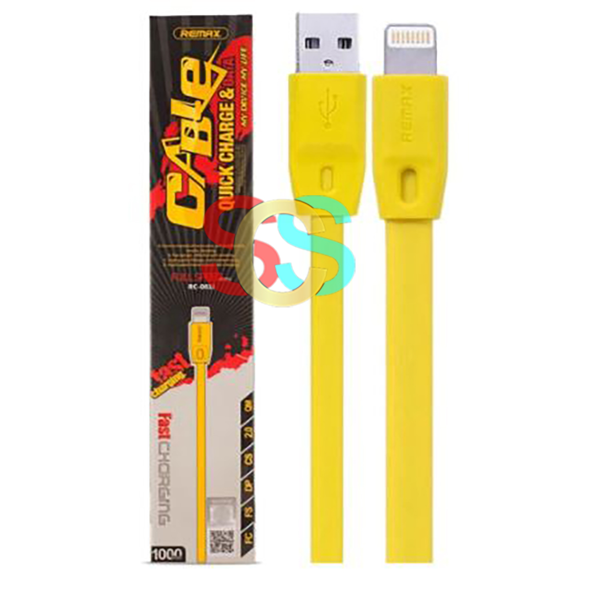 Remax USB Male to Lightning, 1 Meter, Yellow Data Cable