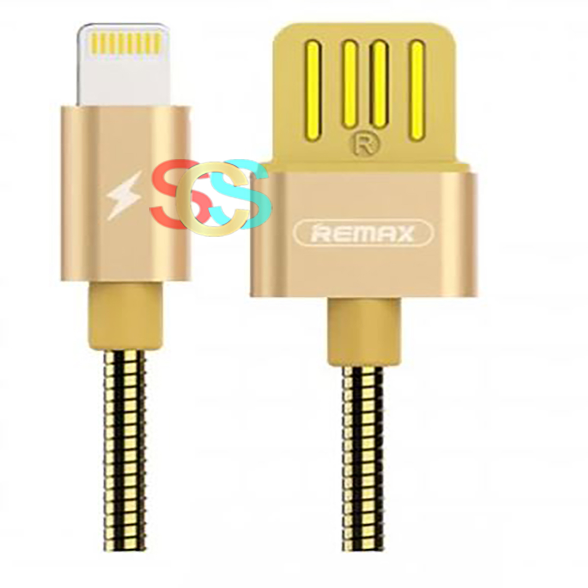 Remax USB Male to Lightning, 1 Meter, Gold Data Cable