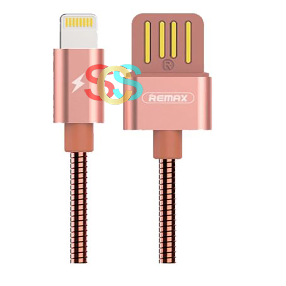 Remax USB Male to Lightning, 1 Meter, Rose Gold Data Cable