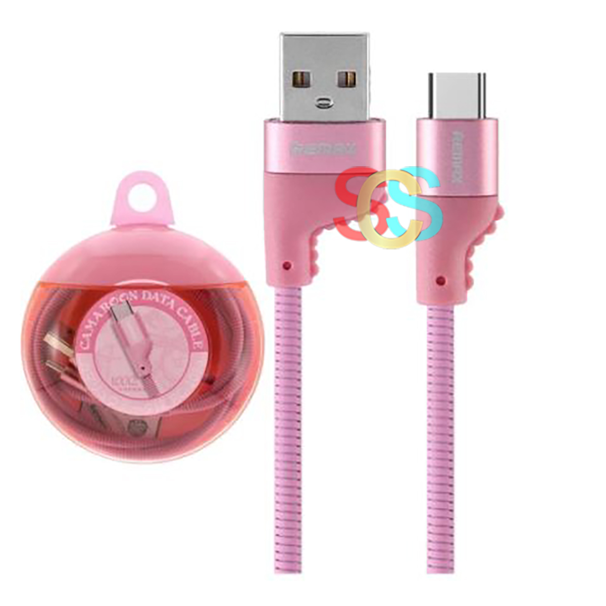 USB Male to Type-C, 1 Meter, Pink Data Cable