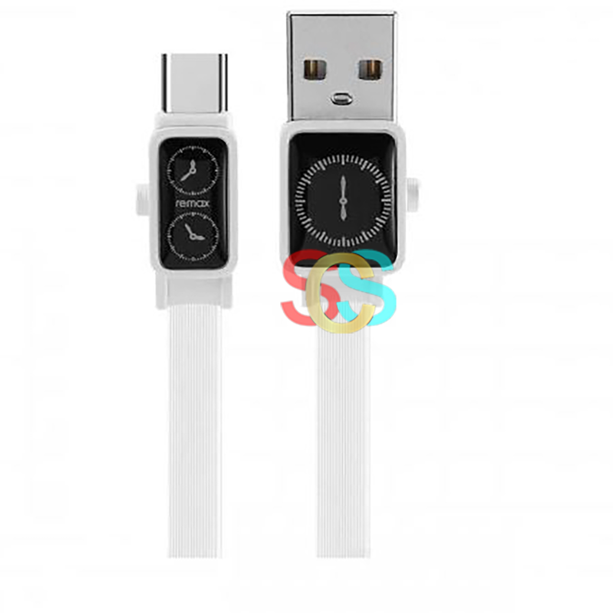 USB Male to Type-C, 1 Meter, White Charging & Data Cable