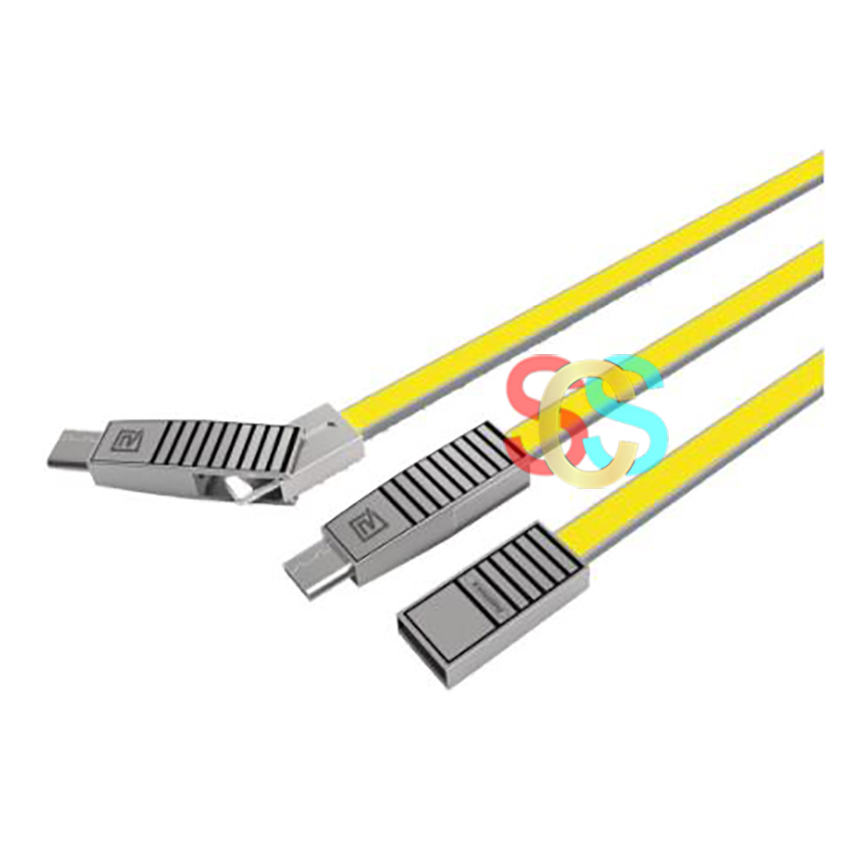 USB Male to Micro USB + Lightning + Type-C, 1 Meter, Yellow Data Cable