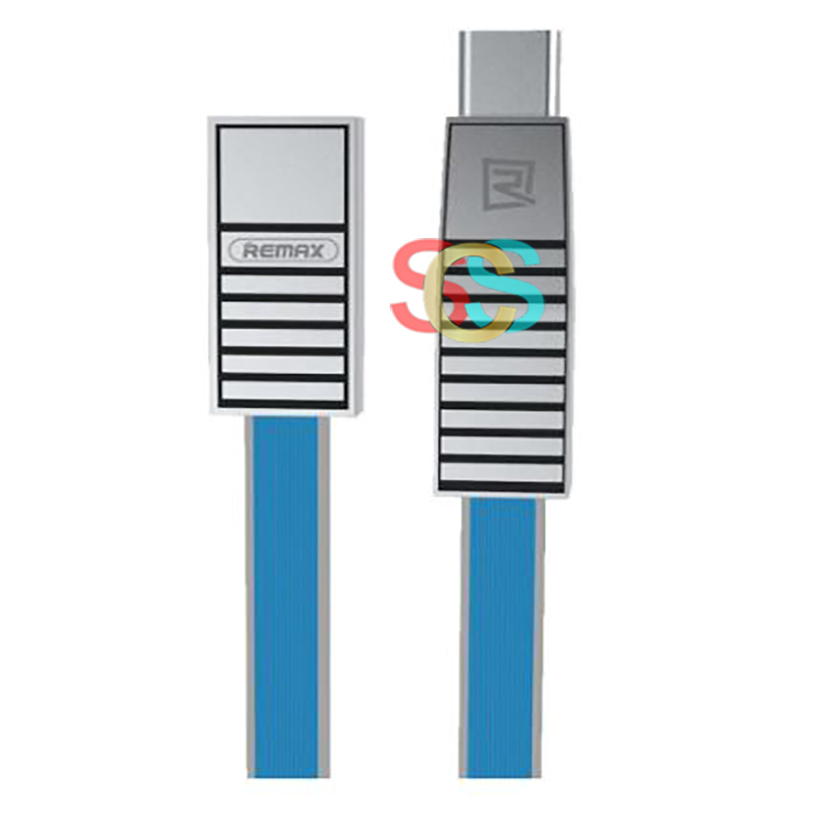 USB Male to Micro USB + Lightning + Type-C, 1 Meter, Blue Data Cable