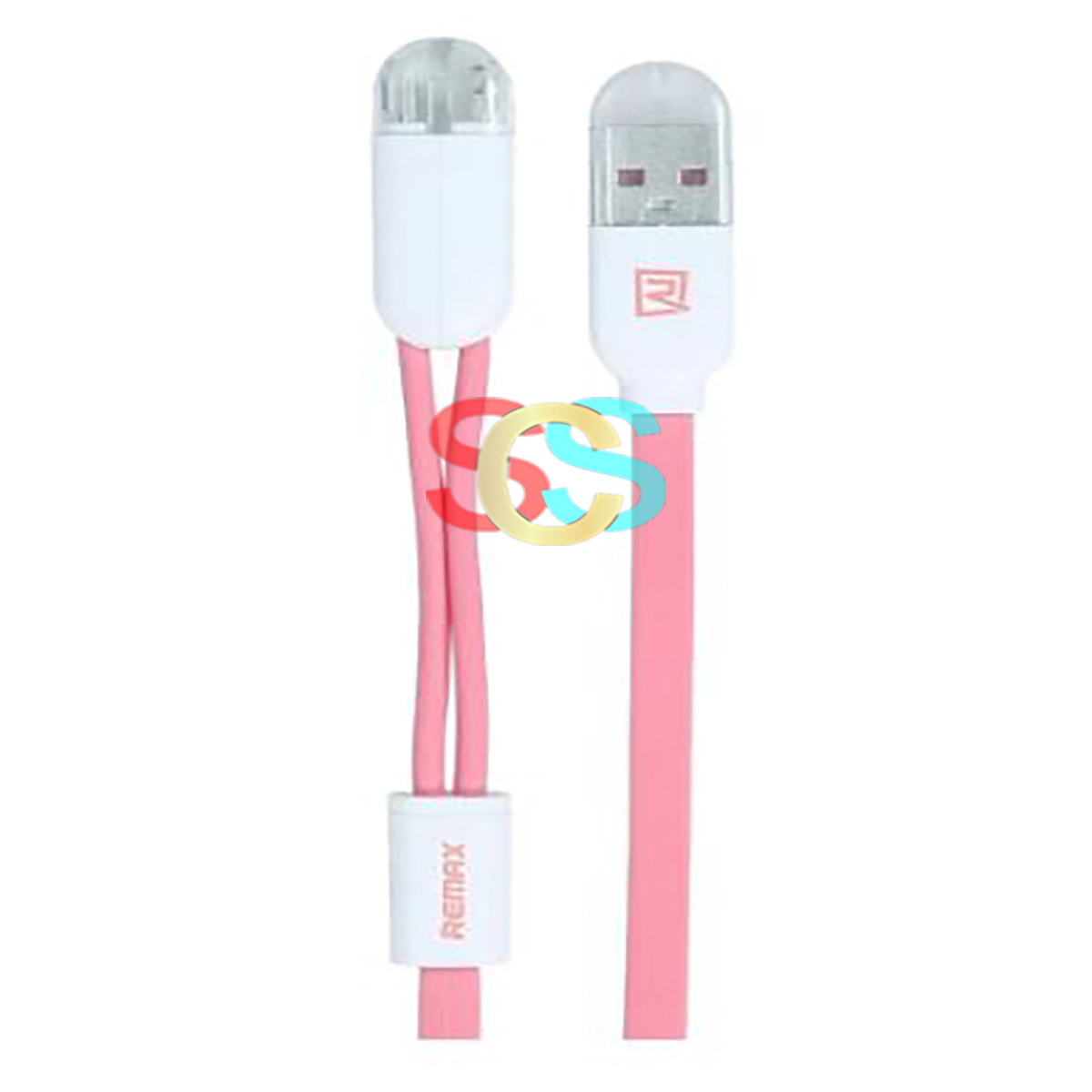 USB Male to Micro USB + Lightning, 1 Meter, Pink Data Cable