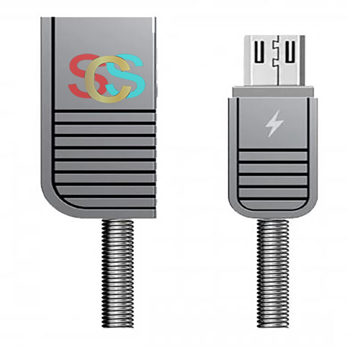 USB Male to Micro USB 1 Meter Silver Data Cable