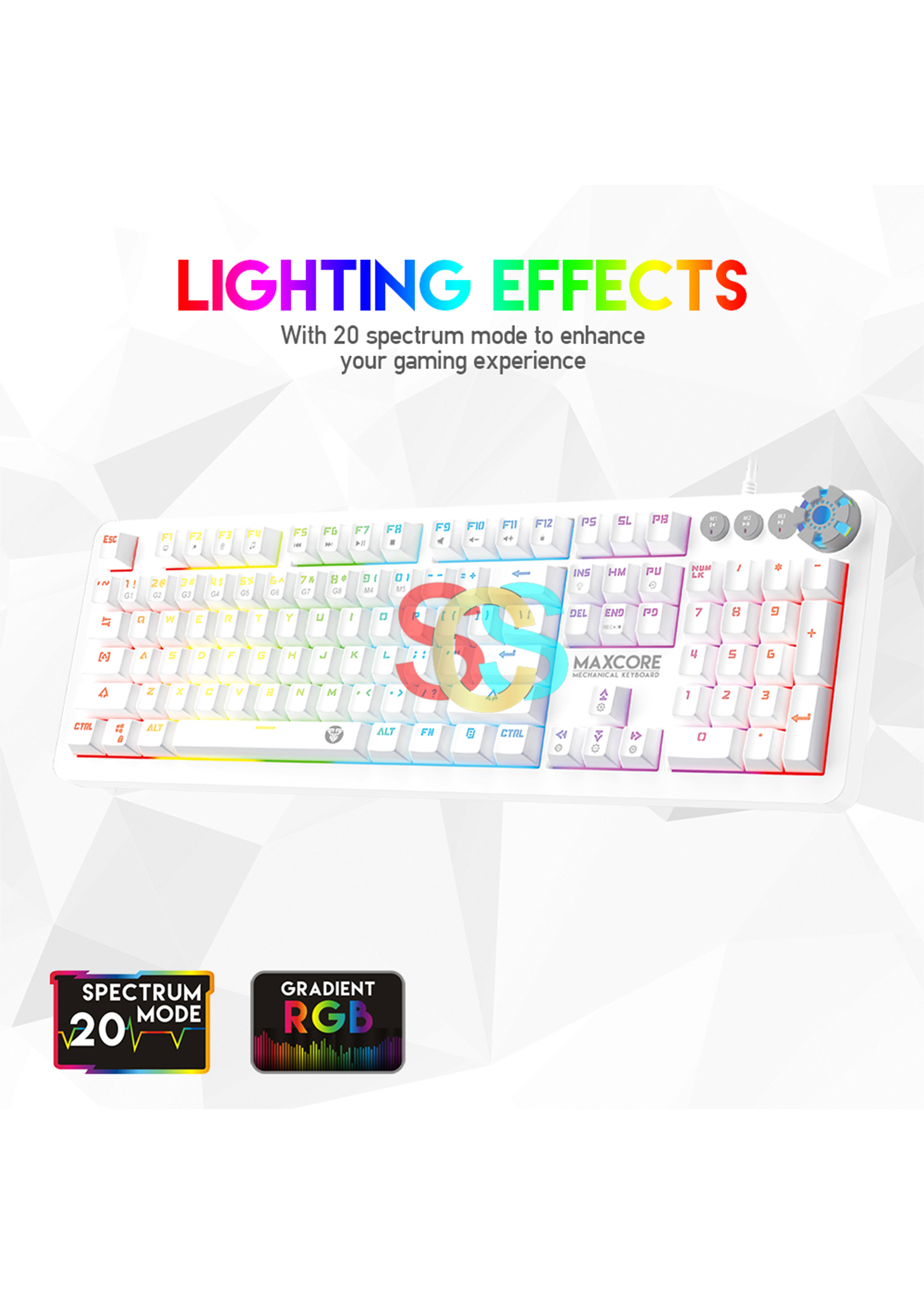 Fantech MK852 Maxcore Space White USB Gaming Keyboard